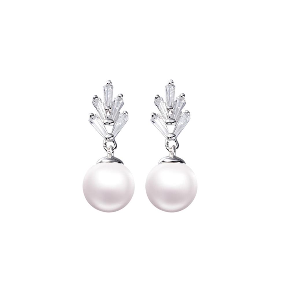 Ohrringe - Weissen Kristall Swarovski und Perle Frau Ohrringe  - Onlineshop Blue Pearls