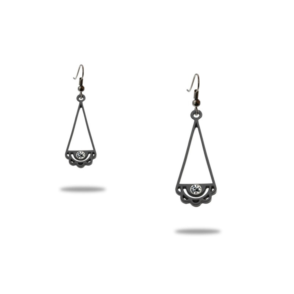 Ohrringe - Ohrringe Frau Spitze Schwarz Silikon Gum  - Onlineshop Blue Pearls