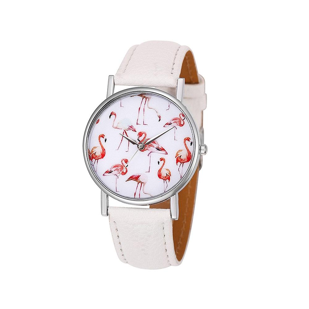 Uhren für Frauen - Phantasie Flamingo Rose Uhr und Weissen Lederarmband  - Onlineshop Blue Pearls