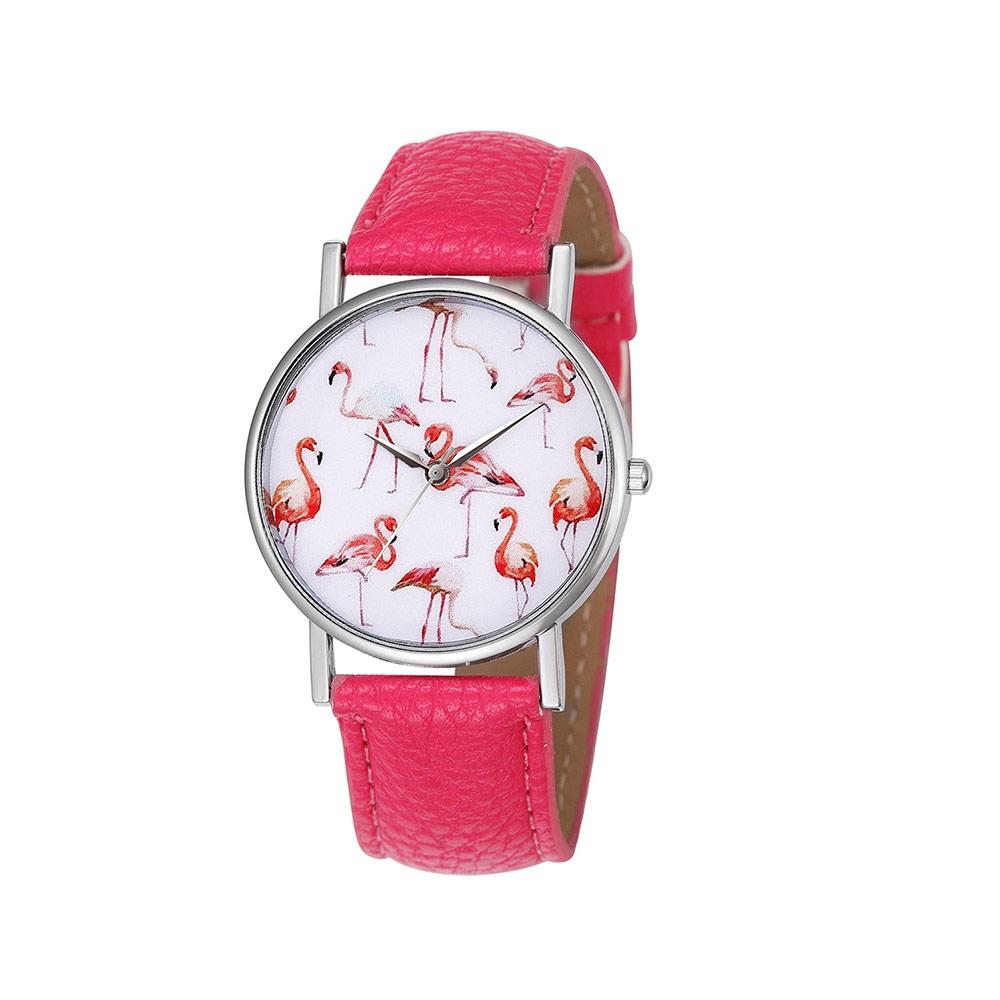 Uhren für Frauen - Phantasie Flamingo Rose Uhr und Rosa Lederarmband  - Onlineshop Blue Pearls