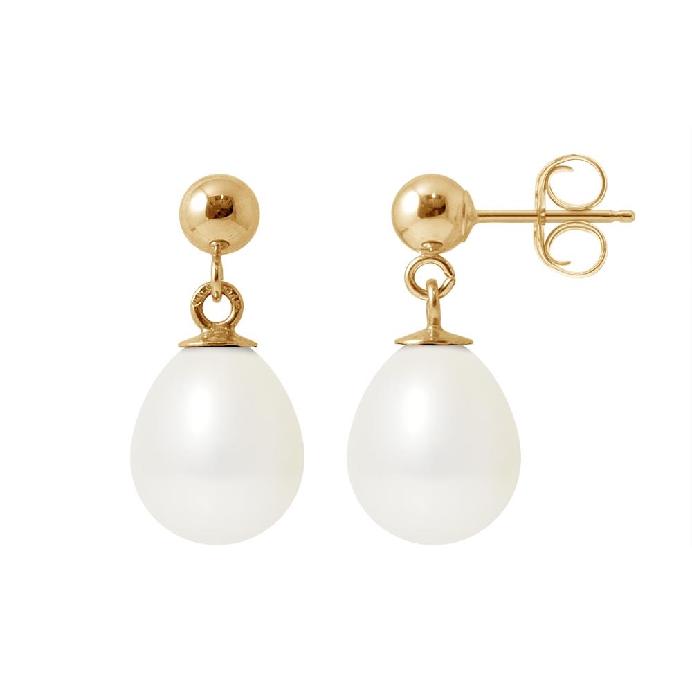 Ohrringe für Frauen - Weissen Subwasser Zuchtperlen Ohrringe und Gelbgold 750 1000  - Onlineshop Blue Pearls