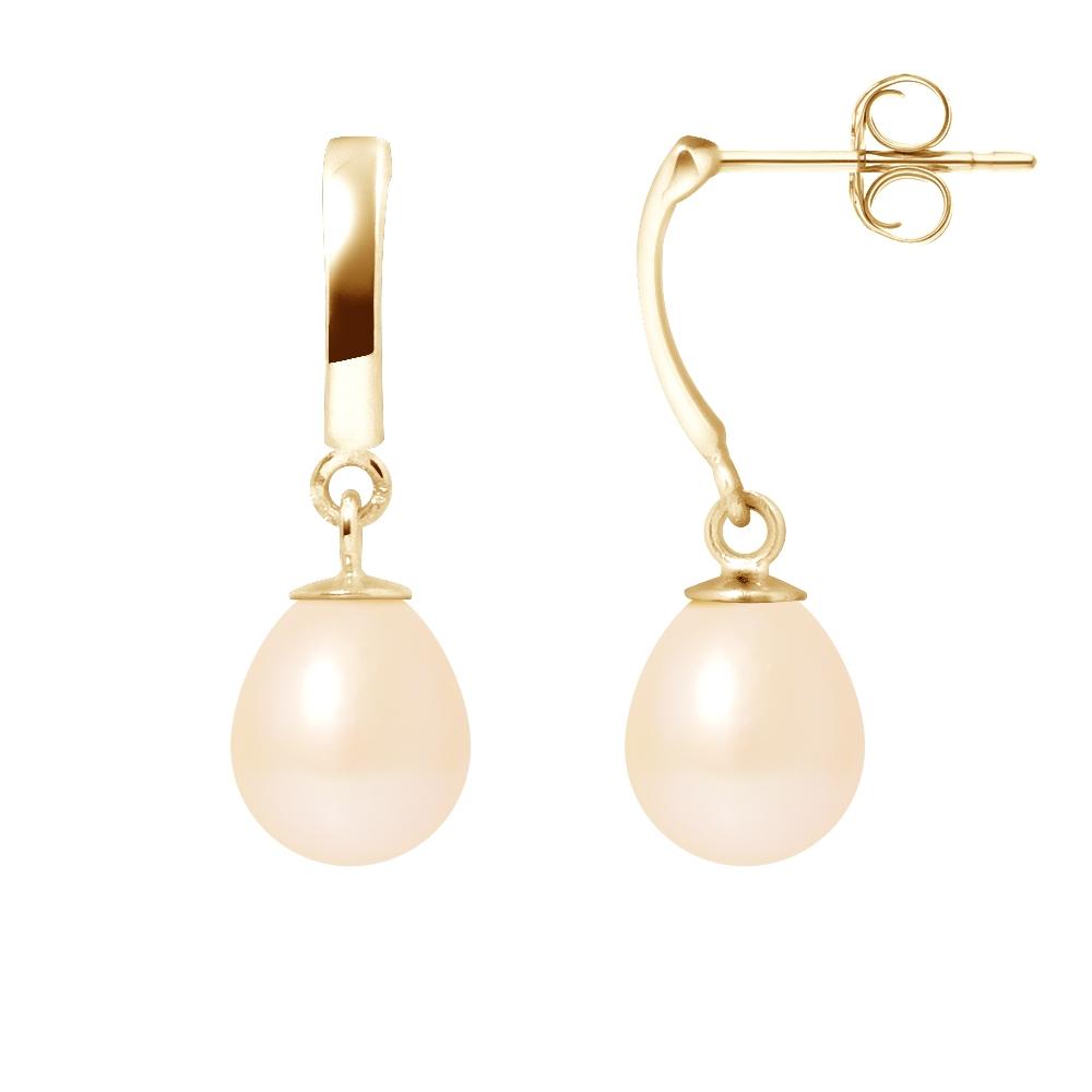 Ohrringe für Frauen - 375 1000 Gelbgold Anhängerohrringe und Rosa Süßwasser Zuchtperlen  - Onlineshop Blue Pearls