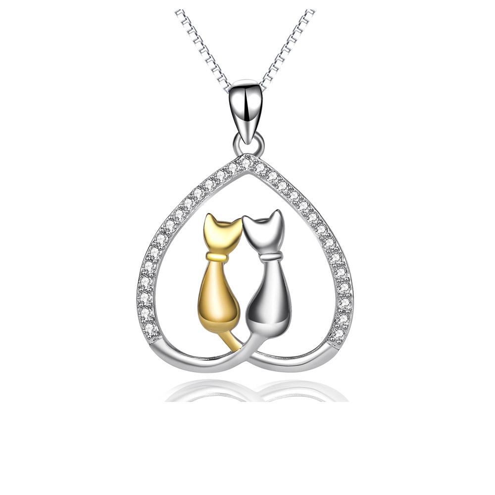 Ketten für Frauen - Katzen und Herzen Anhänger in 925 1000 Silber und Weissen Kristall Swarovski Elements  - Onlineshop Blue Pearls