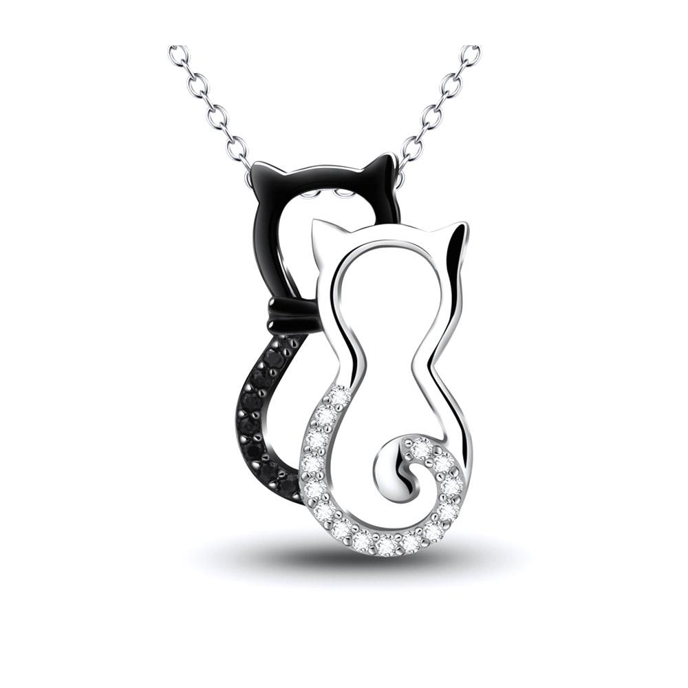 Ketten für Frauen - Katzen Anhänger in 925 1000 Silber und Weissen Schwarze Kristall Swarovski Elements  - Onlineshop Blue Pearls