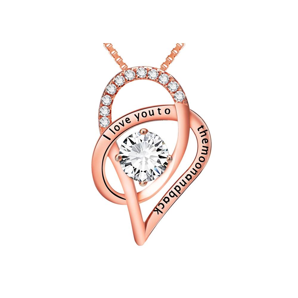 Ketten für Frauen - Anhänger Ich liebe dich zu den Folly Kristall Swarovski Elements und 925 Silber vergoldet Rose Gold  - Onlineshop Blue Pearls