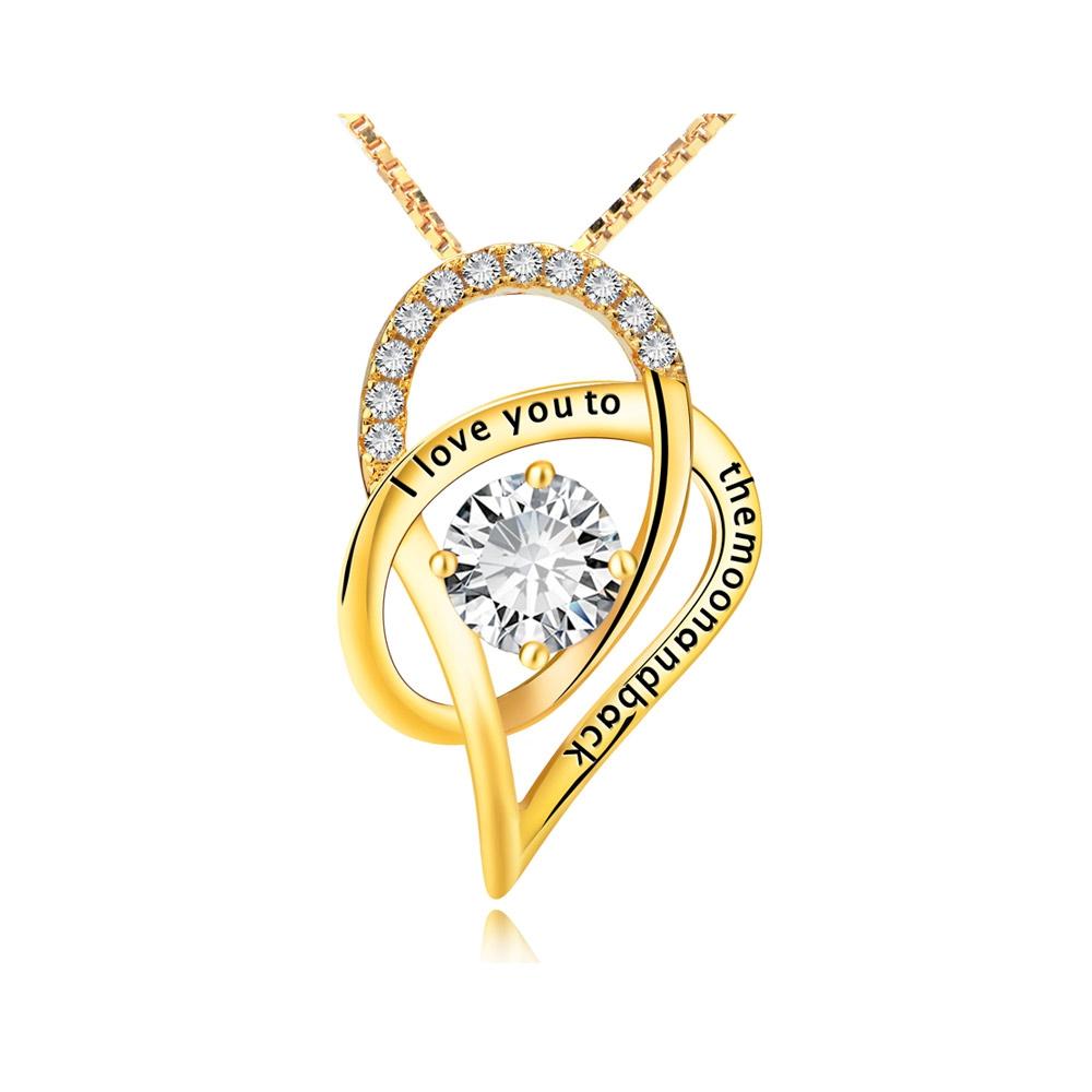 Ketten für Frauen - Anhänger Ich liebe dich zu den Folly Kristall Swarovski Elements und 925 Silber GelbGold plattiert  - Onlineshop Blue Pearls