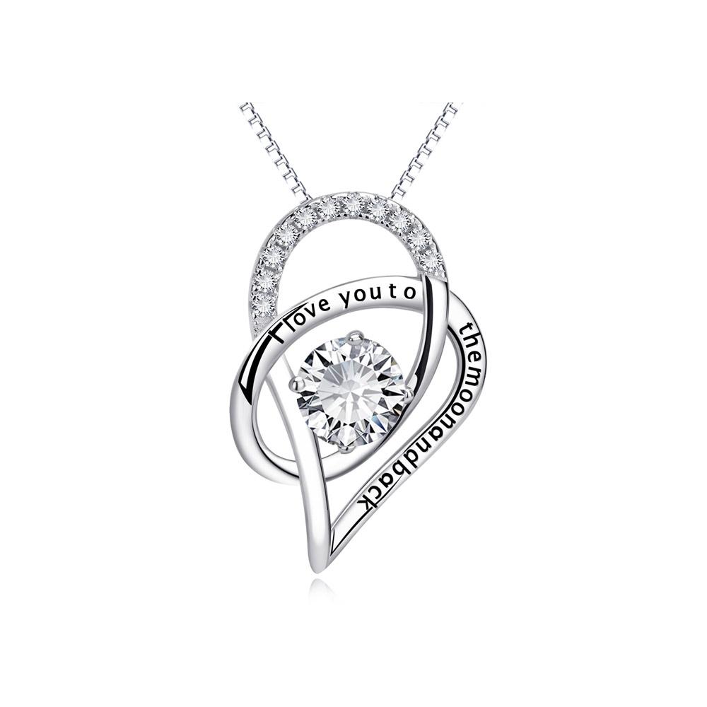 Ketten für Frauen - Anhänger Ich liebe dich zu den Folly Kristall Swarovski Elements und 925 Silber  - Onlineshop Blue Pearls