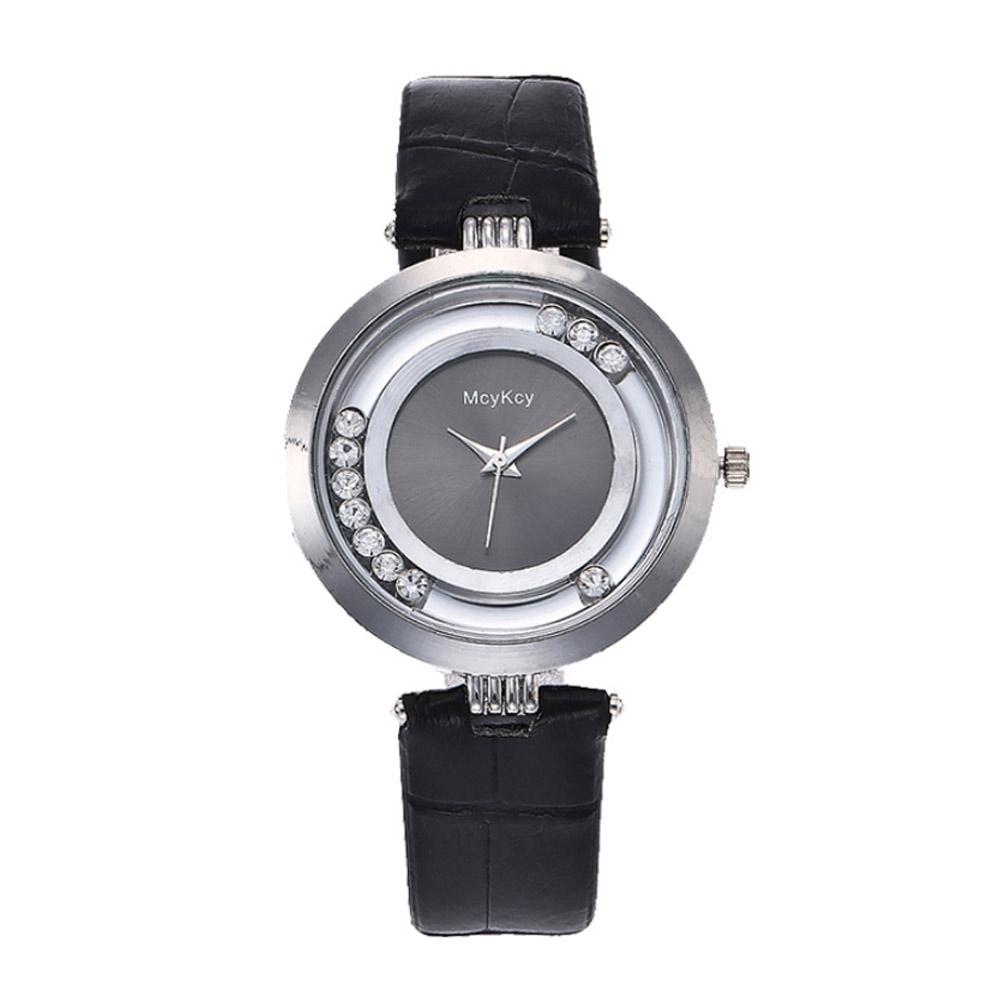 Uhren für Frauen - Uhr Kristall Weiß und Schwarze Leder Armband  - Onlineshop Blue Pearls