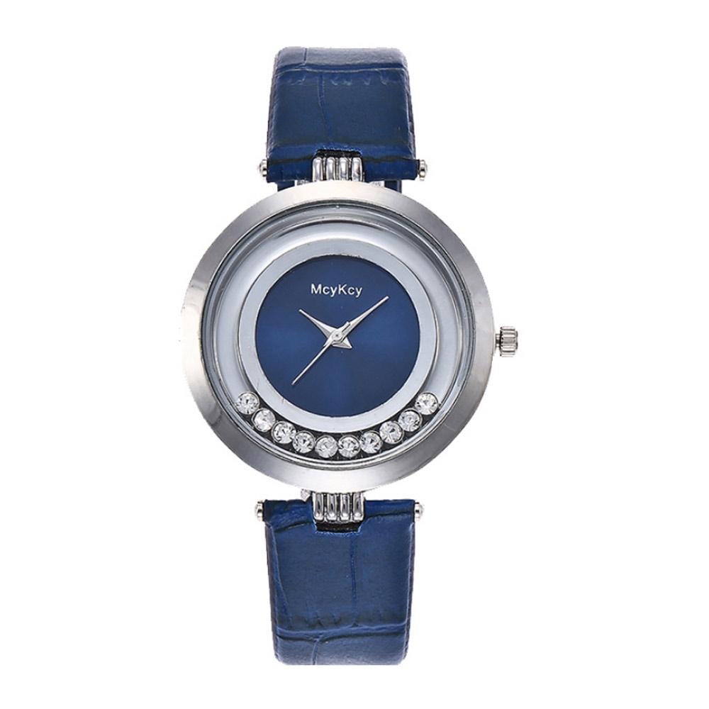 Uhren für Frauen - Uhr Kristall Weiß und Blauen Leder Armband  - Onlineshop Blue Pearls