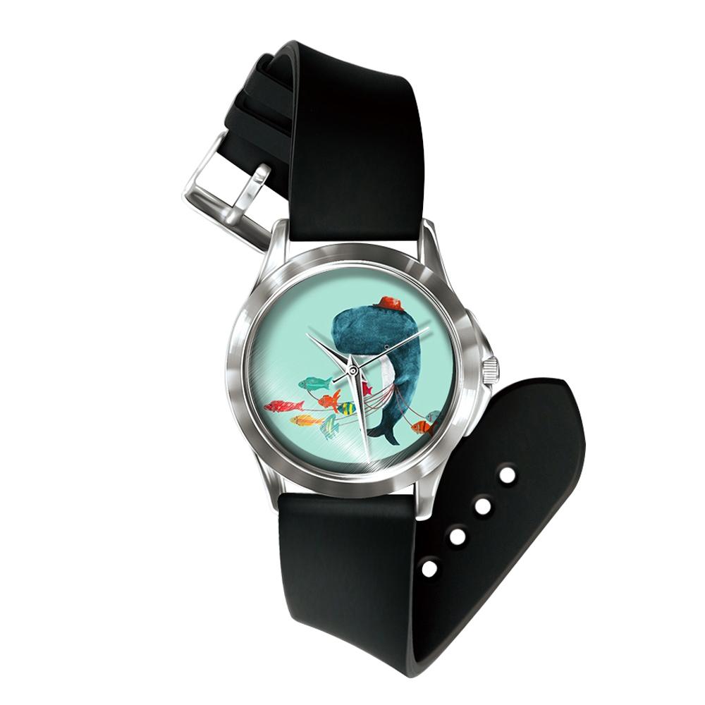 Uhren für Frauen - Mixed Wal Uhr und Armband Silikon schwarz  - Onlineshop Blue Pearls