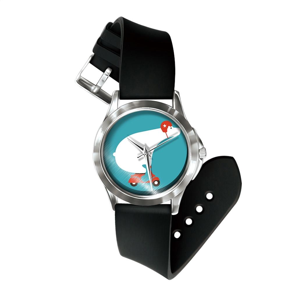 Uhren für Frauen - Mixed Sloth Uhr und Armband Silikon schwarz  - Onlineshop Blue Pearls