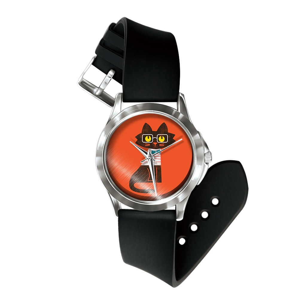 Uhren für Frauen - Mixed Katze Uhr und Armband Silikon schwarz  - Onlineshop Blue Pearls