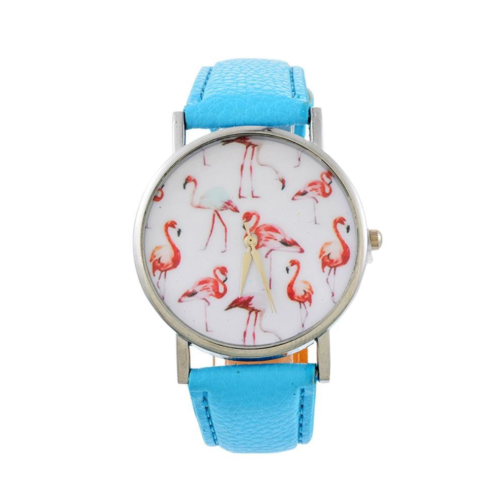 Uhren für Frauen - Phantasie Flamingo Rose Uhr und Blau Lederarmband  - Onlineshop Blue Pearls