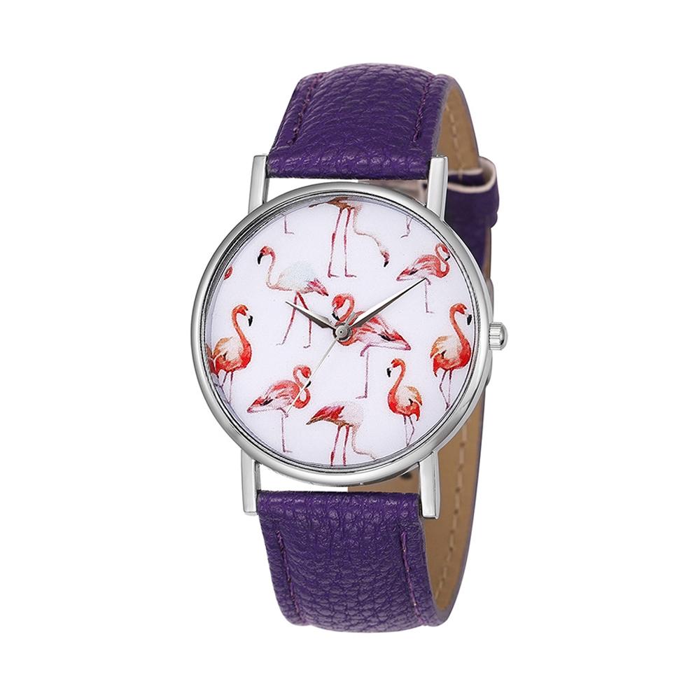 Uhren für Frauen - Phantasie Flamingo Rose Uhr und Lila Lederarmband  - Onlineshop Blue Pearls
