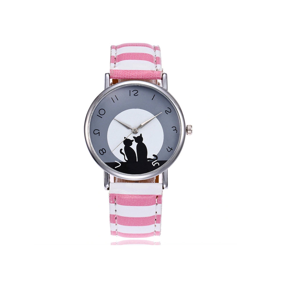 Uhren für Frauen - Phantasie Katzen Uhr und Rosa und Weiss Lederarmband  - Onlineshop Blue Pearls