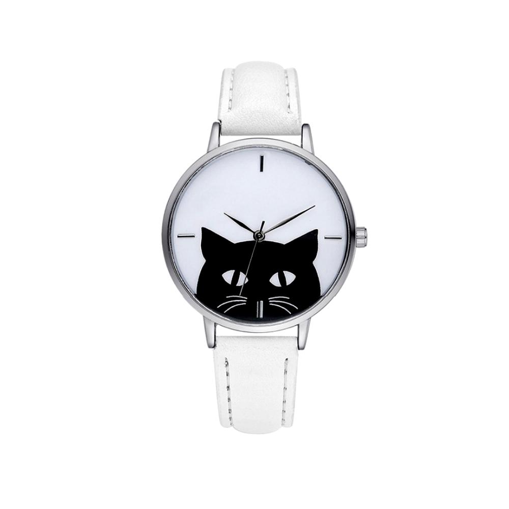 Uhren für Frauen - Phantasie Katzen Uhr und Weissen Lederarmband  - Onlineshop Blue Pearls