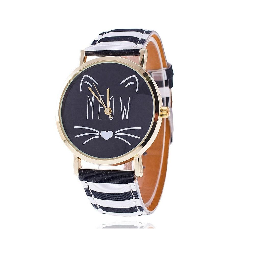 Uhren für Frauen - Phantasie Meow Katzen Uhr und Schwarze und Weissen Lederarmband  - Onlineshop Blue Pearls