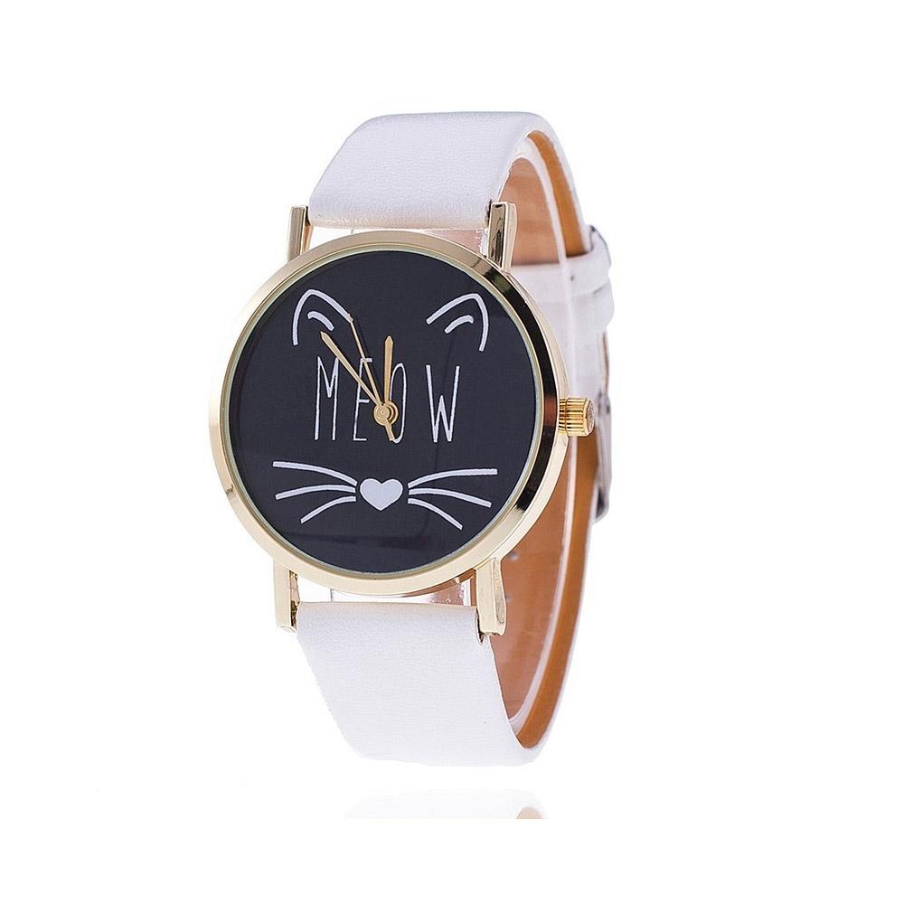 Uhren für Frauen - Phantasie Meow Katzen Uhr und Weissen Lederarmband  - Onlineshop Blue Pearls