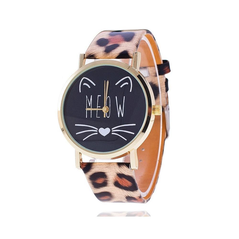 Uhren für Frauen - Phantasie Meow Katzen Uhr und Pantera Lederarmband  - Onlineshop Blue Pearls