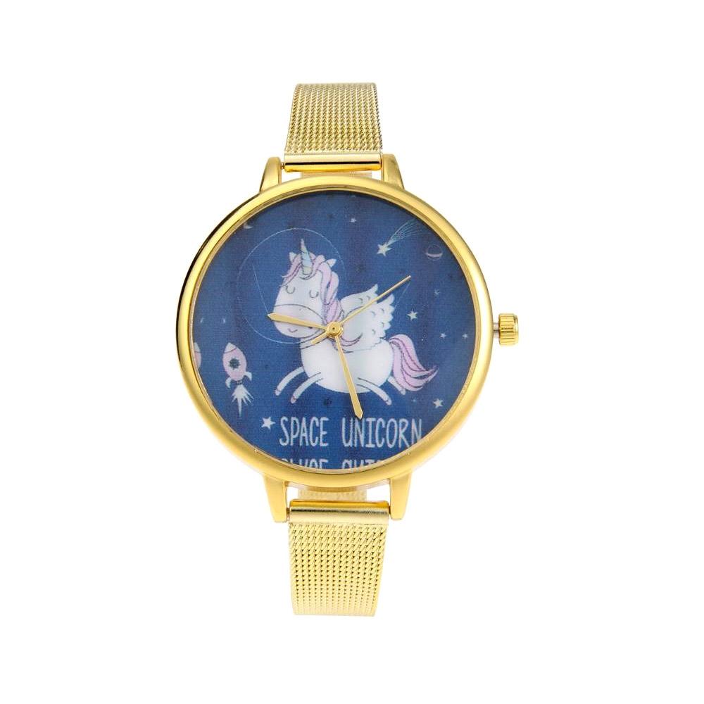 Uhren für Frauen - Phantasie Einhorn des Raumes Uhr und Edelstahl Armband  - Onlineshop Blue Pearls