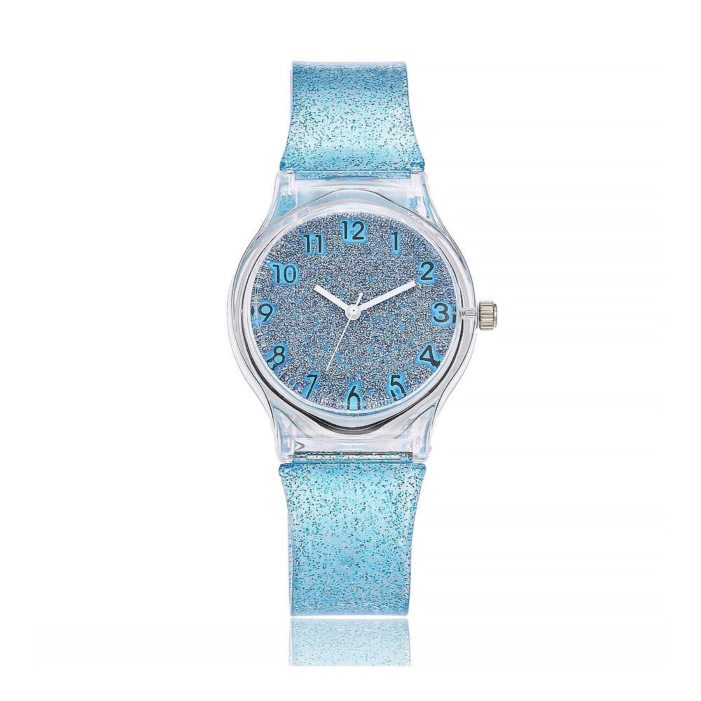 Uhren für Frauen - Blaue Glitter Silikon Fancy Uhr  - Onlineshop Blue Pearls