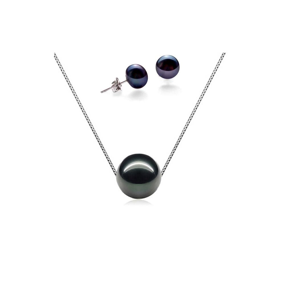 Ketten für Frauen - Schmuckset Halskette und Ohrringe 925 Sterlingsilber mit schwarze Zuchtperle  - Onlineshop Blue Pearls