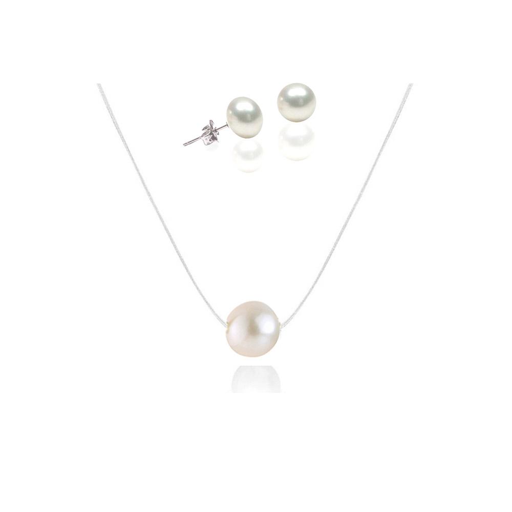 Ketten für Frauen - Schmuckset Halskette Nylon und Ohrringe 925 Sterlingsilber mit weißer Zuchtperle  - Onlineshop Blue Pearls