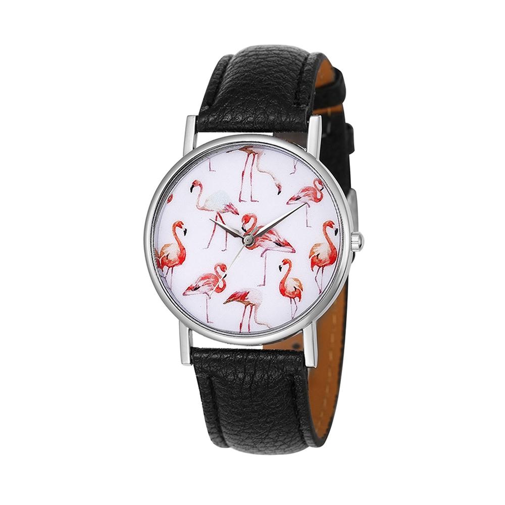 Uhren für Frauen - Phantasie Flamingo Rose Uhr und Schwarze Lederarmband  - Onlineshop Blue Pearls