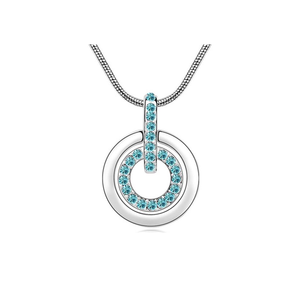 Ketten für Frauen - Set von 5 Blauen Swarovski Kristallelementen Multi Circles Anhänger  - Onlineshop Blue Pearls