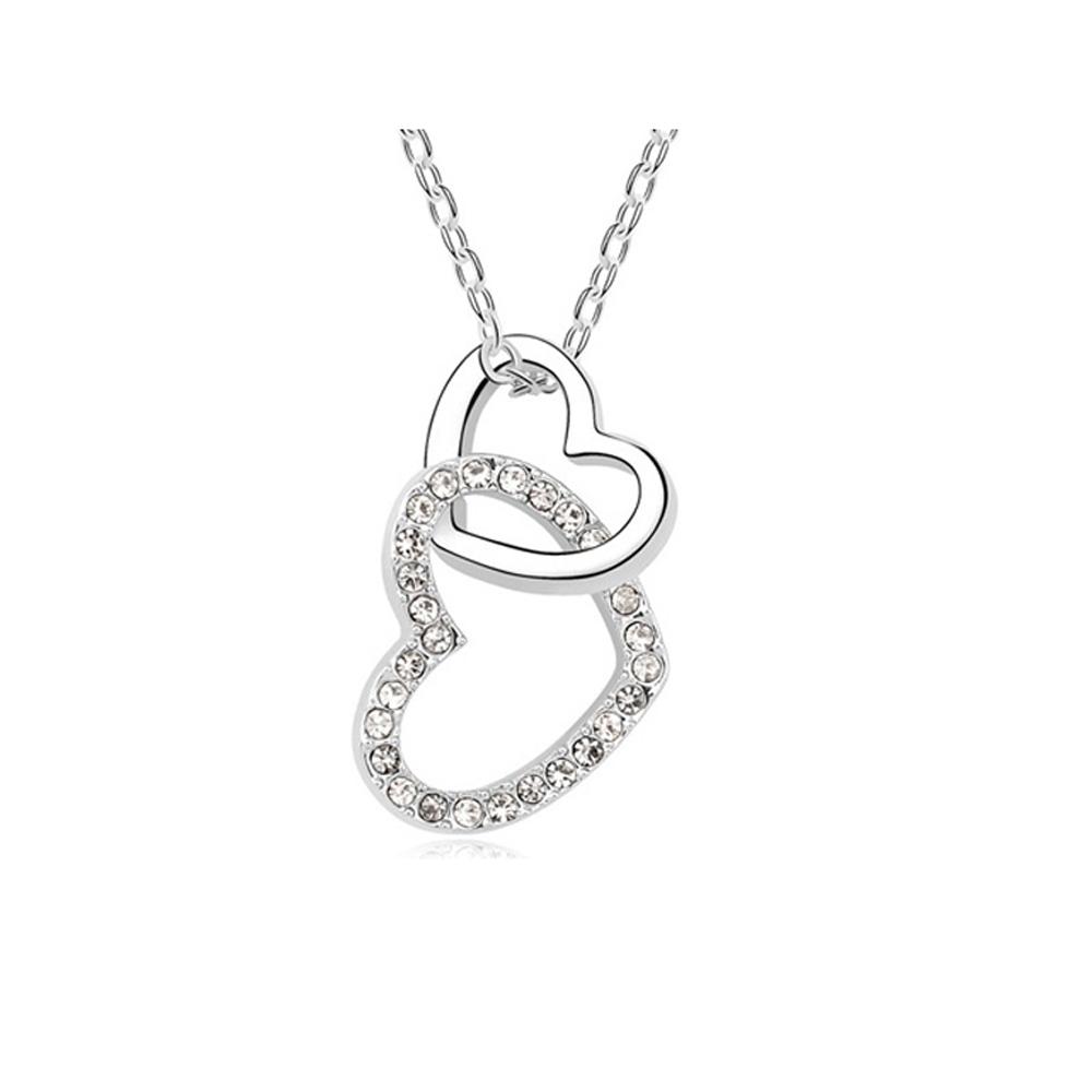 Ketten für Frauen - Lot von 5 Interlaced Heart Anhänger Weissen Kristall Swarovski Elements  - Onlineshop Blue Pearls
