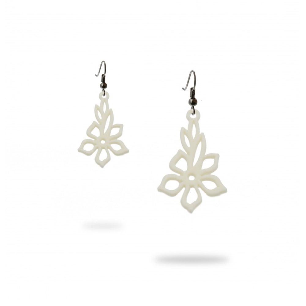 Ohrringe - Ohrringe Frau Tiare Blume Weiß Silikon Gum  - Onlineshop Blue Pearls