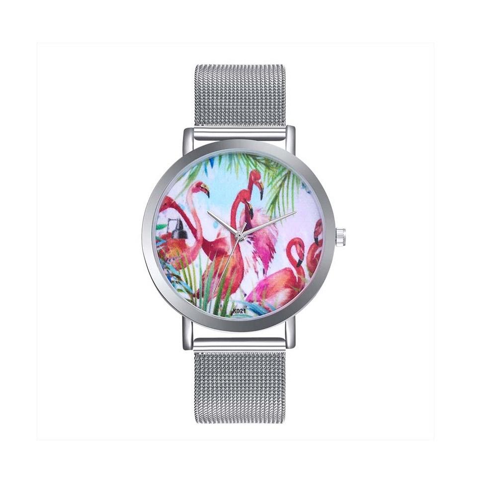 Uhren für Frauen - Phantasie Flamingo Rosa Uhr und Edelstahl Armband  - Onlineshop Blue Pearls