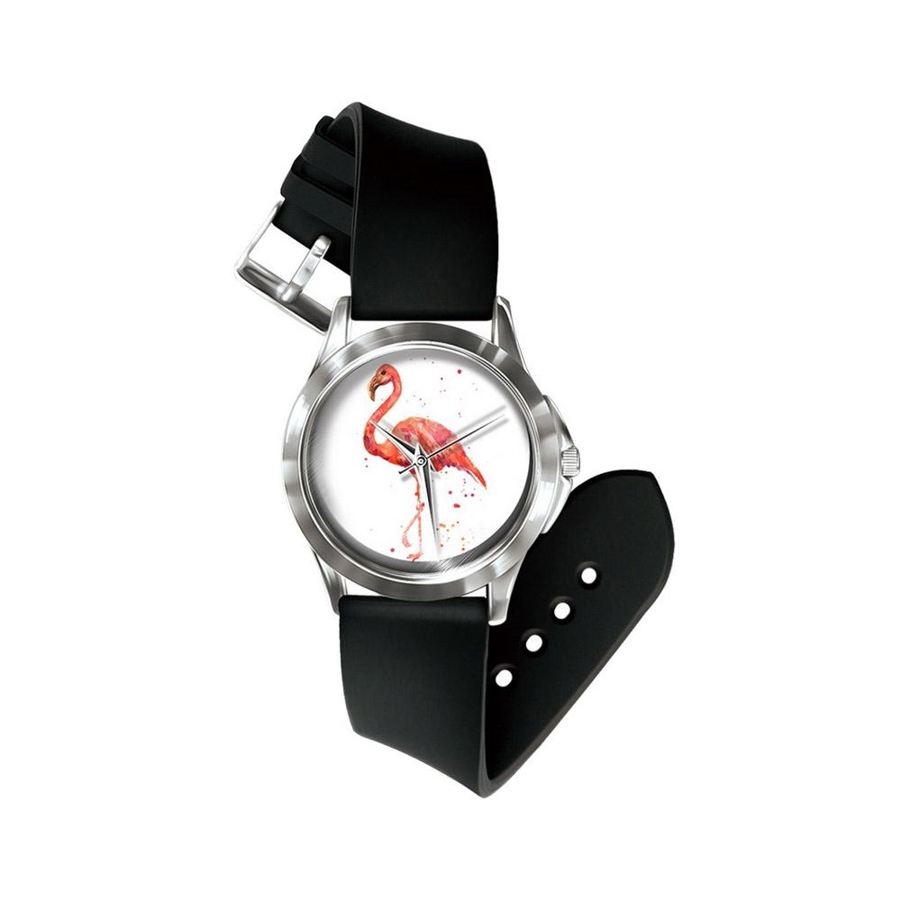 Uhren für Frauen - Phantasie Flamingo Rosa Uhr und Silikon Armband  - Onlineshop Blue Pearls