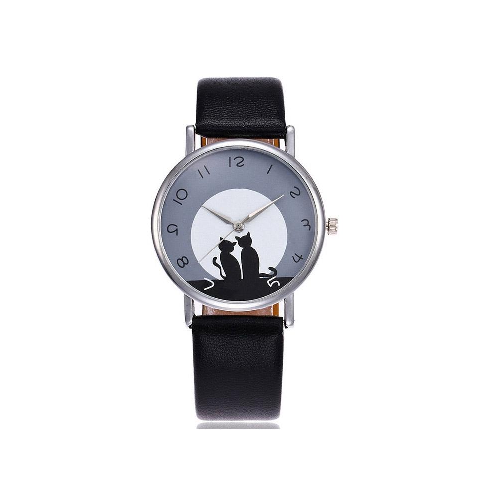 Uhren für Frauen - Phantasie Katzen Uhr und Schwarze Lederarmband  - Onlineshop Blue Pearls