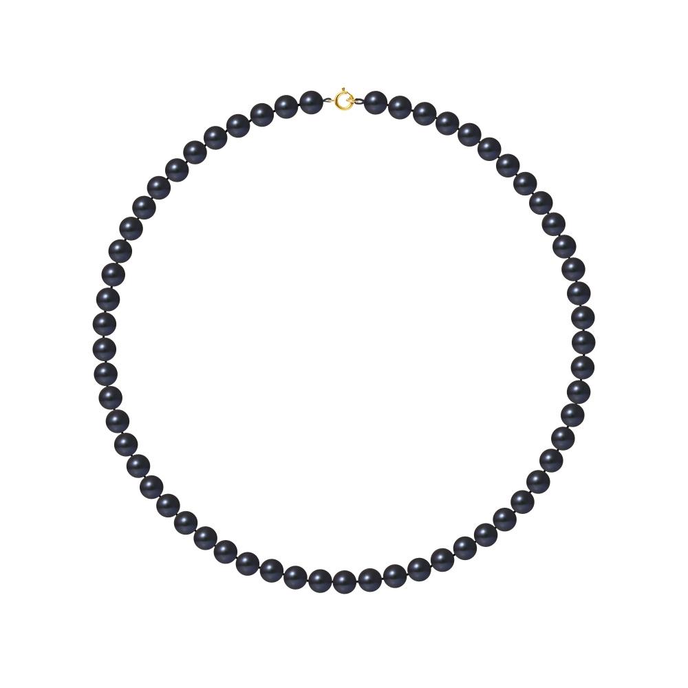 Ketten - Perle Halskette mit Schwarze Zuchtperlen und 750 1000 Gelbgold Verschluss  - Onlineshop Blue Pearls