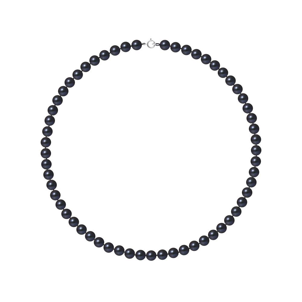 Ketten - Perle Halskette mit Schwarze Zuchtperlen und 750 1000 Weißgold Verschluss  - Onlineshop Blue Pearls