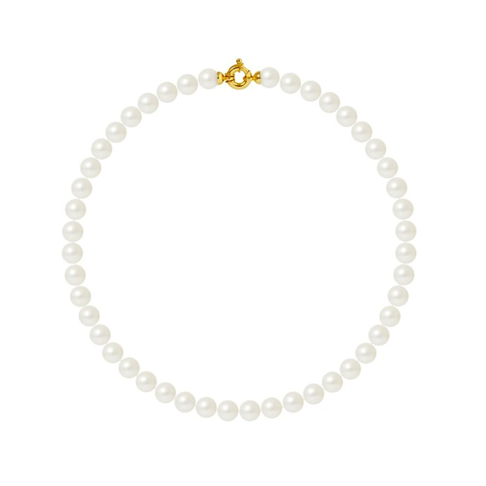 10mm and AA White Freshwater Pearl Women Necklace and 750/1000 Yellow Gold Clasp
