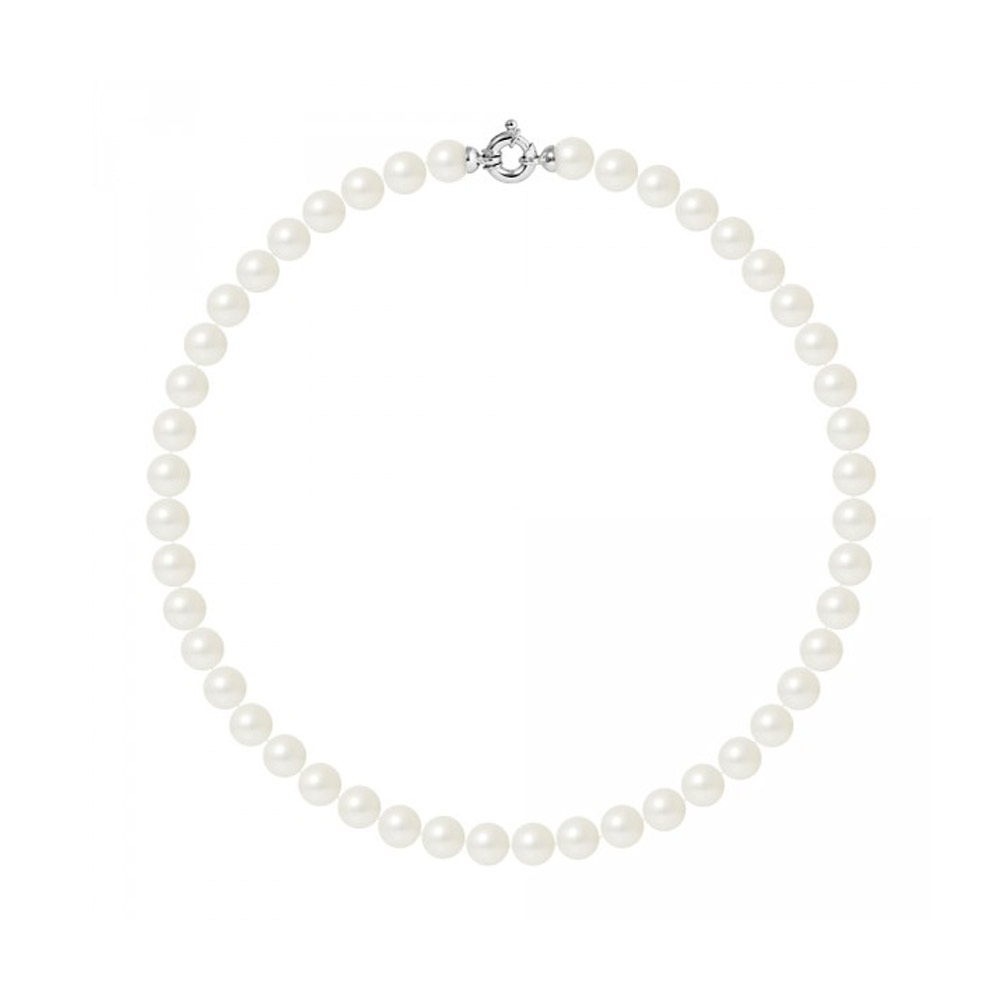 10mm and AA White Freshwater Pearl Women Necklace and 750/1000 white Gold Clasp