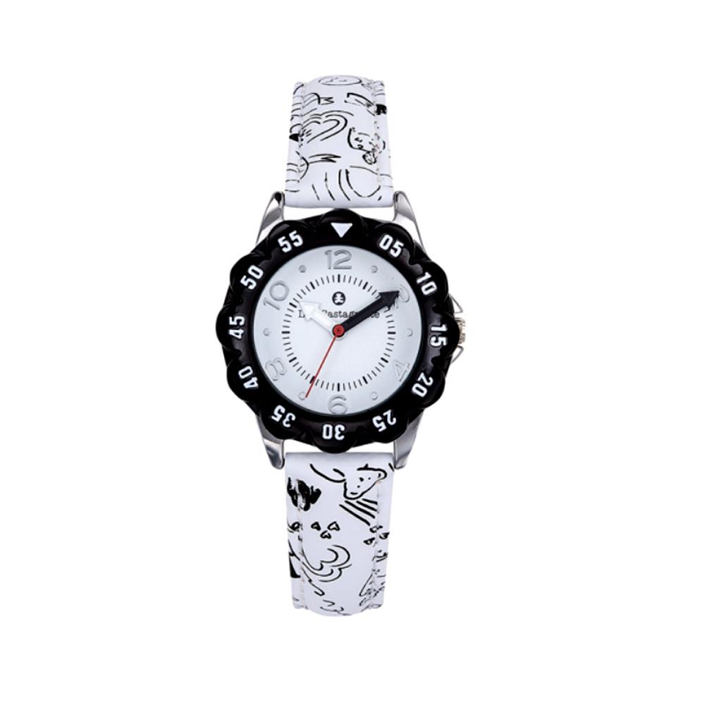 Uhren - Uhr Mädchen LuluCastagnette Schwarze und Weiss Lederarmband  - Onlineshop Blue Pearls
