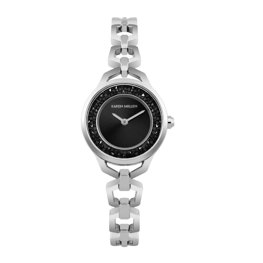 Uhren für Frauen - Uhr Frauen Karen Millen Kristall Schwarz und Stahl Silber Armband  - Onlineshop Blue Pearls