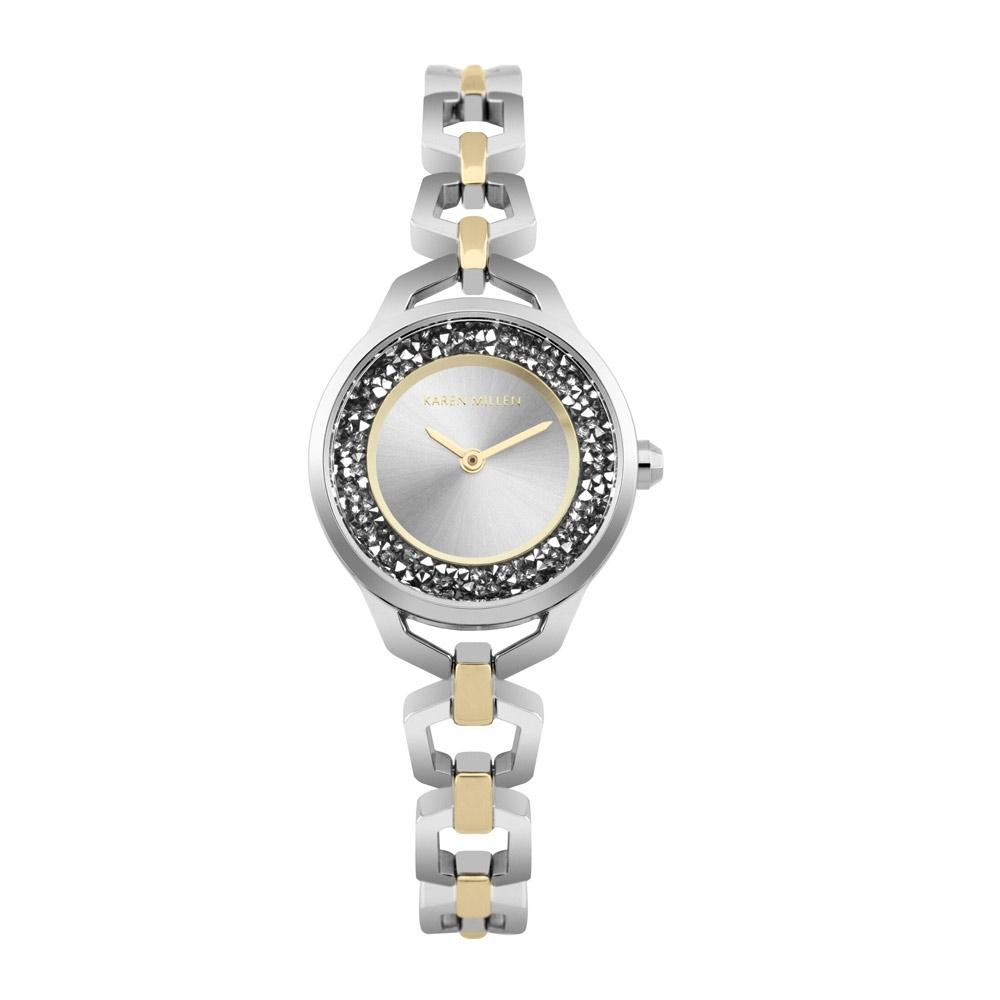 Uhren - Uhr Frauen Karen Millen Kristall Silber und Stahl Golden und Silber Armband  - Onlineshop Blue Pearls
