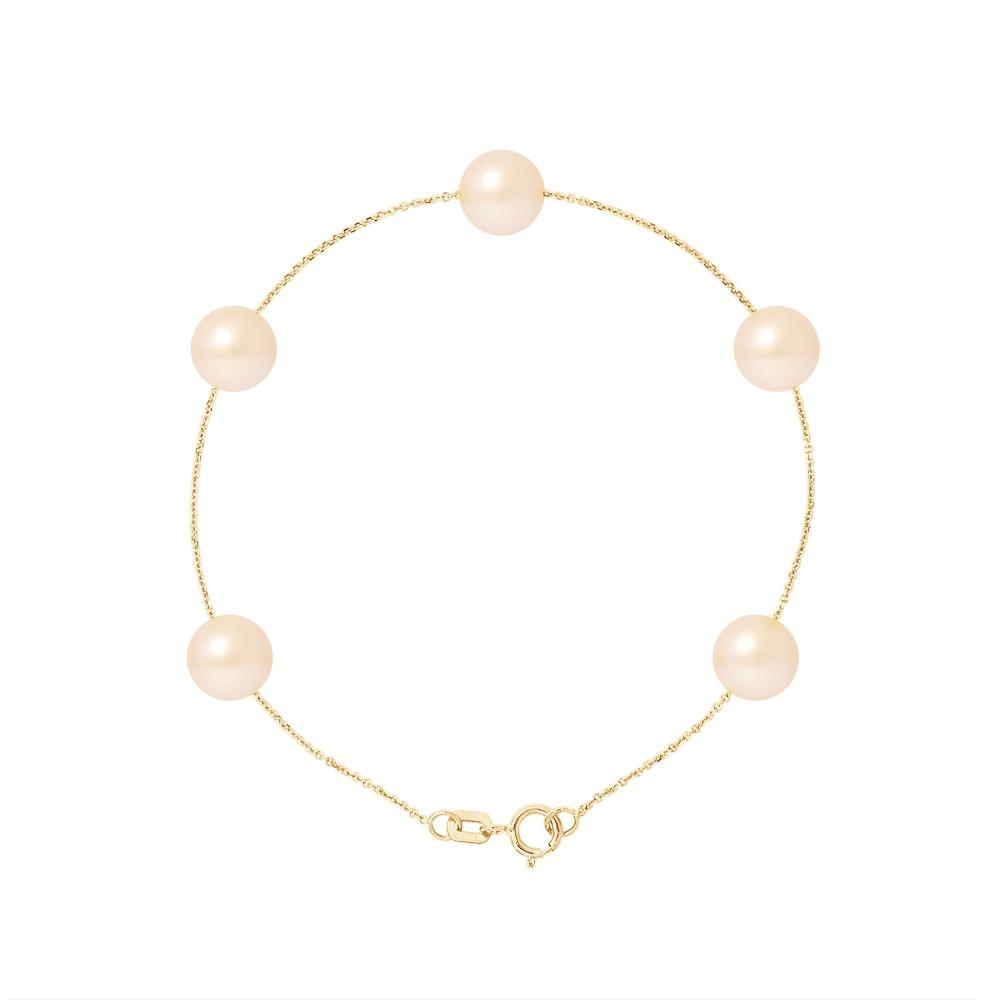 Armbaender - Perlenarmband mit 5 natürliche Rose Zuchtperlen und 750 1000 Gelbgold  - Onlineshop Blue Pearls