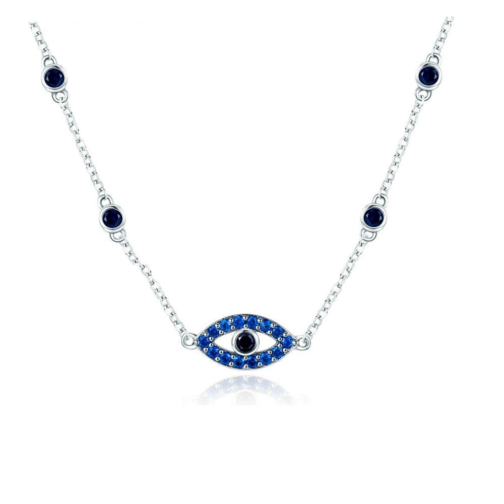 Ketten - Augenkette mit blauem Swarovski Kristall und 925er Silber  - Onlineshop Blue Pearls