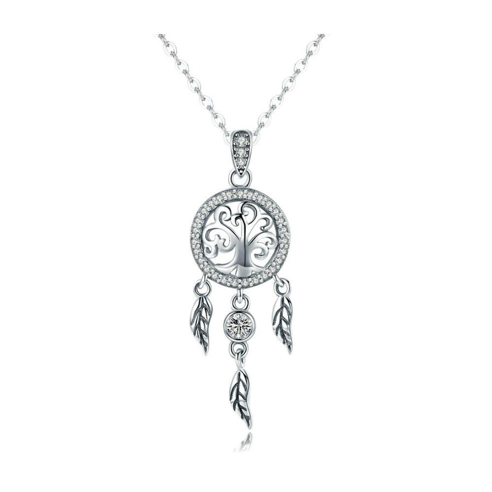 Ketten - Fangen Träume Anhänger mit Weissen Swarovski Kristall und 925 Silber  - Onlineshop Blue Pearls