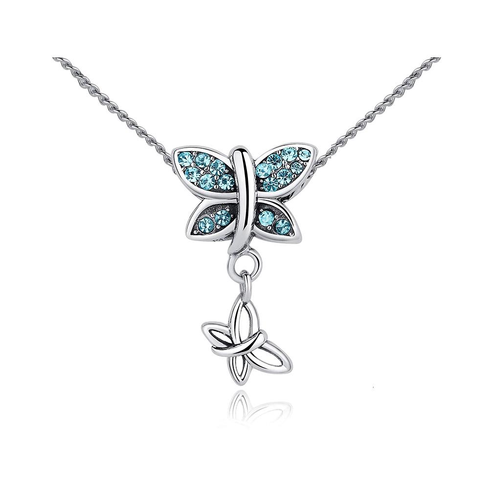 Ketten - Schmetterling Halskettenanhänger mit Swarovski Kristallblau und 925 Silber  - Onlineshop Blue Pearls