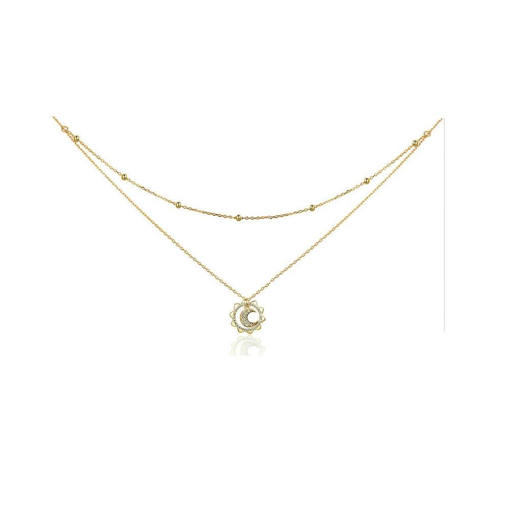 Ketten für Frauen - Sonnen und Mond Anhänger Halskette mit weißem Swarovski Kristall und Gelbgold Beschichtung  - Onlineshop Blue Pearls