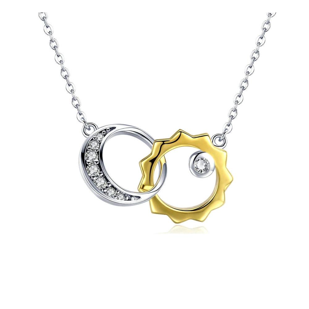 Ketten für Frauen - Sonnen und Mondanhänger mit weißem Swarovski Kristall und 925 Silber und Gelbgold  - Onlineshop Blue Pearls