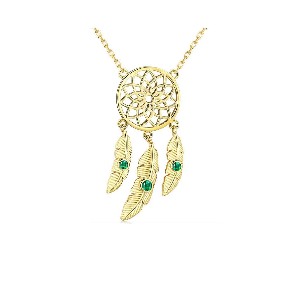 Ketten für Frauen - Traumfänger Halskette mit Grauen Swarovski Kristall und 925 Silber und Gelbgold  - Onlineshop Blue Pearls