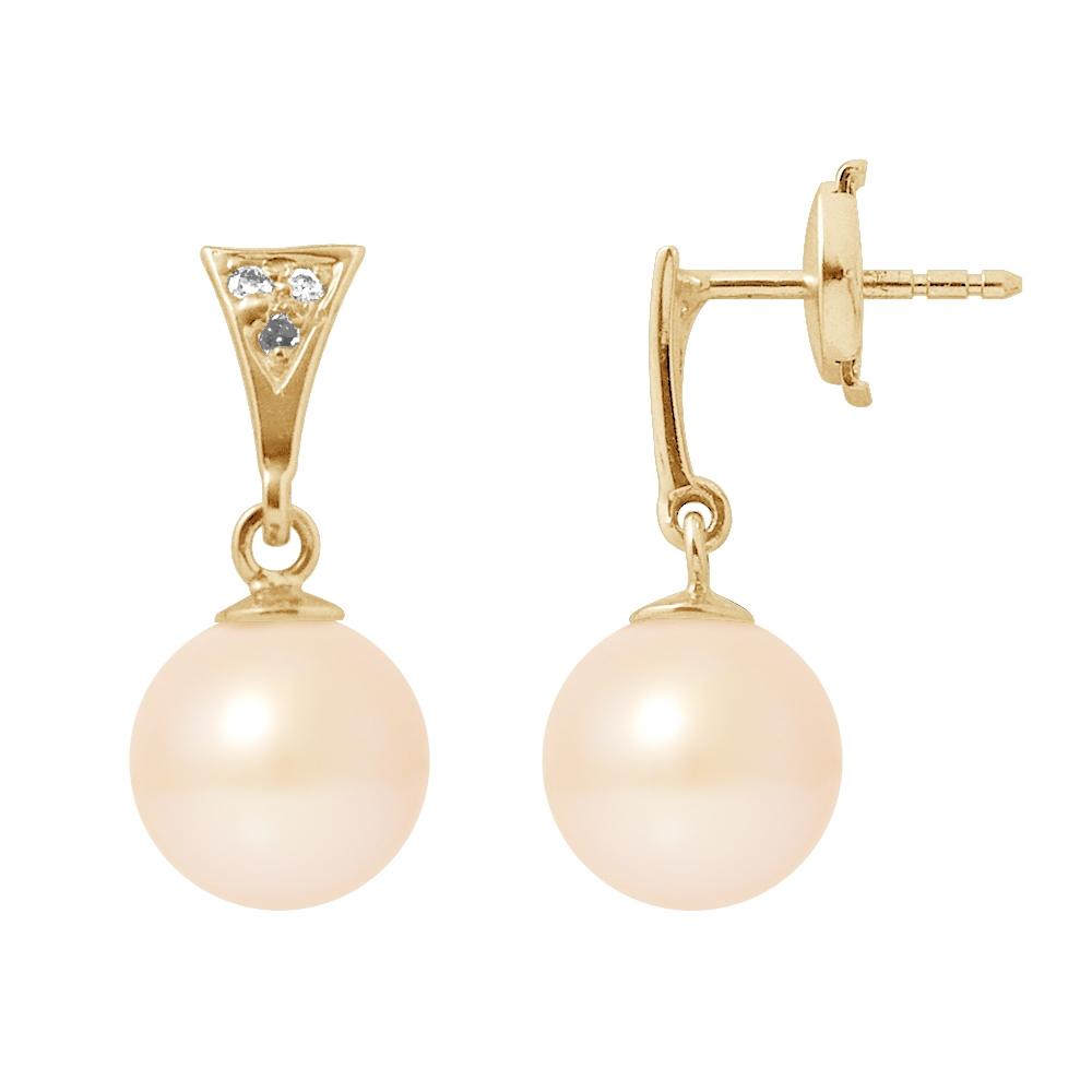 Ohrringe für Frauen - Ohrringe Rosa Süßwasser Zuchtperle, Diamant und Gelbgold 750 1000  - Onlineshop Blue Pearls